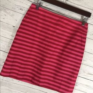 Talbots Skirt Red Pink Stripe Pockets Lined 6